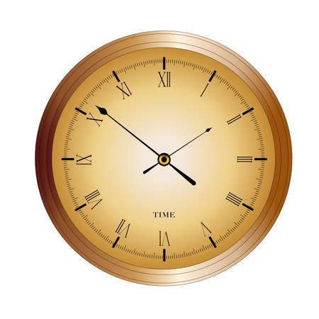 An old English office type clock isolated over a white background