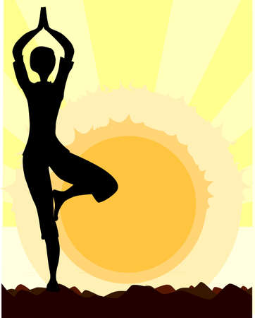 asana: A woman performing a yoga asana against the rising sun