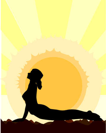A woman performing a yoga asana against the rising sun  Vector