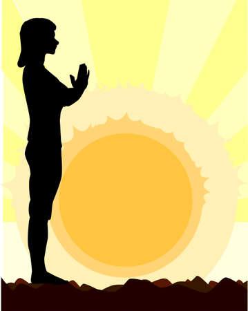 salutation: A woman performing a yoga asana against the rising sun