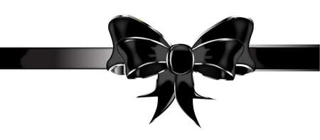 black satin: A black silk or satin bow isolated over a white background