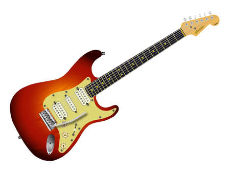 stratocaster: A sunburst colour solid body electric guitar isolated over a white background