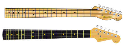 single coil: Two guitar necks typical of single coil rock and roll guitars