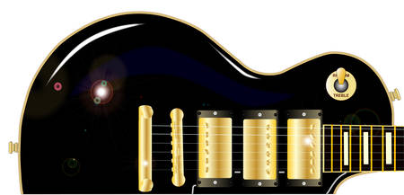 gibson: The definitive rock and roll guitar in black, isolated over a white background