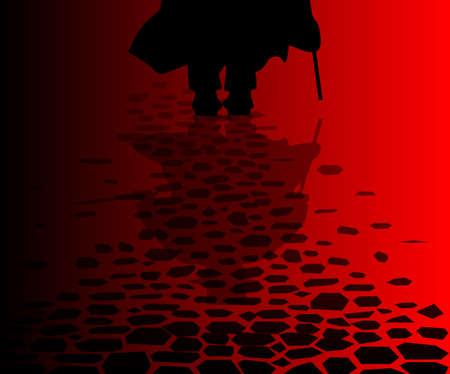 the reflection of Jack the Ripper on the cobble streets of London Stock Illustratie