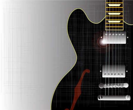 cutaway drawing: Un nero semi chitarra acustica tipo inquadrata in una cornice grunge Vettoriali