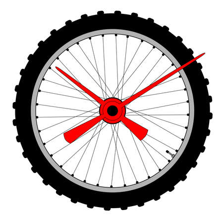 making a face: A knobbly tyre on a bicycle wheel with clock hands making a clock face Illustration