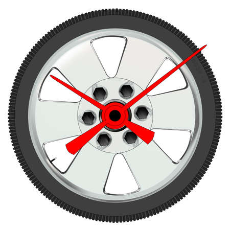low tire: A low prifile auto tyre and wheel as a clock face  Illustration