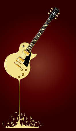 headstock: A rock guitar melting down with musical notes splashing around at the base