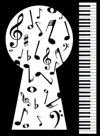 upright: Black and white piano keys set against a black with a large keyhole showing the notes being played