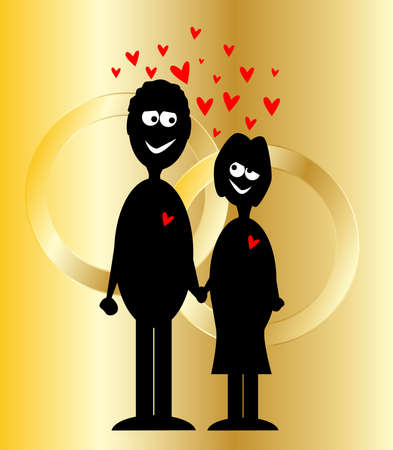 A pair of newly weds with a golden background with two wedding rings Vector