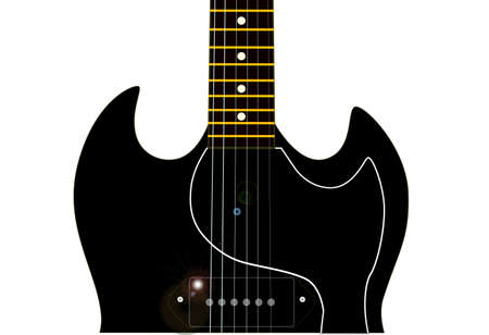 gibson: A solid body electric guitar with horns set in a white background