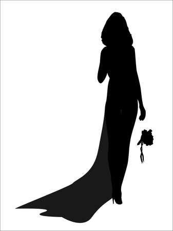 jilted: A sexy bride dropping her flowers as she walks away - jilted, Illustration
