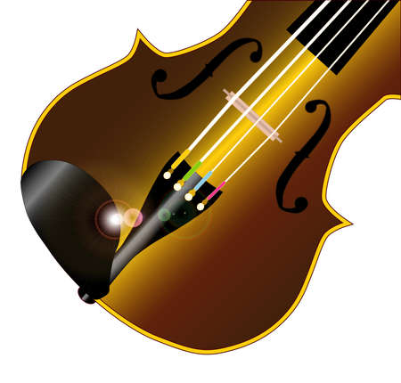A typical violin fiddle isolated over a white  Vector