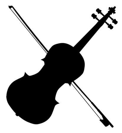 violines: Un viol�n y un arco t�pico de silueta aislados en un fondo blanco