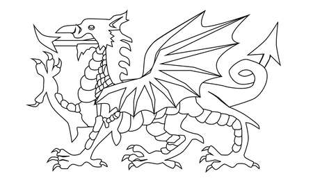 The Welsh Dragon in black and white and over a white