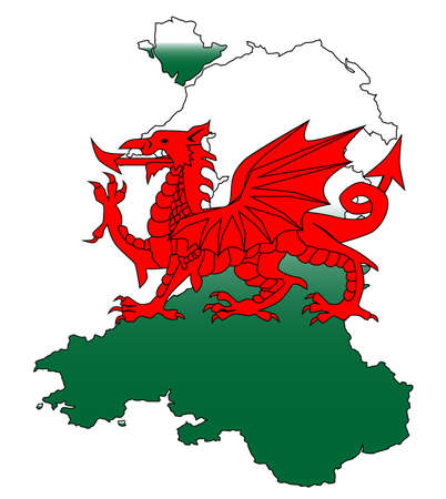 cymru: Outline of Wales with a Welsh Dragon isolated on white