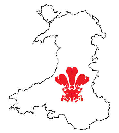 cymru: Outline of Wales in the United Kingdom with a Fluer De Lis