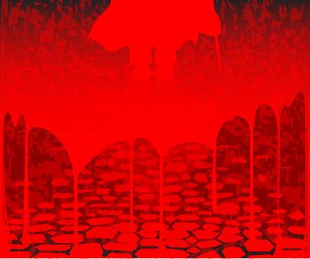 Jack the ripper on a blood soaked street background Vector