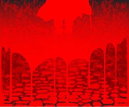 prostitue: Jack the ripper op een bloed doordrenkte straat achtergrond Stock Illustratie