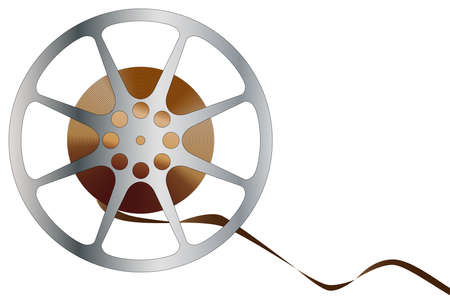 feature films: A reel of movie film isolated over a white
