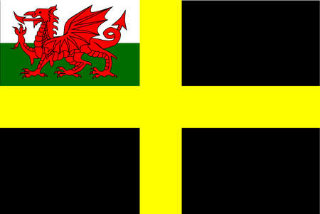 The flag of Saint David, a black background with a yellow cross with the welsh dragon inset  Illustration