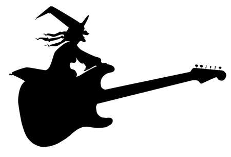 cackle: A witch sitting on a flying electric guitar Illustration