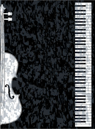 upright piano: Black and white piano keys set against a black background with a violin inset