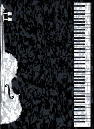 violines: En blanco y negro teclas de piano frente a un fondo negro con una inserci�n de viol�n Vectores