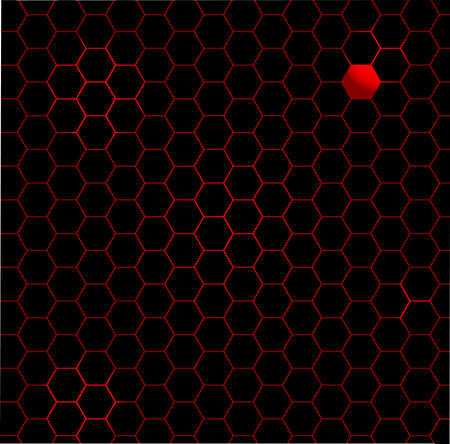 odd one out: A black honeycomb with a red head background Illustration