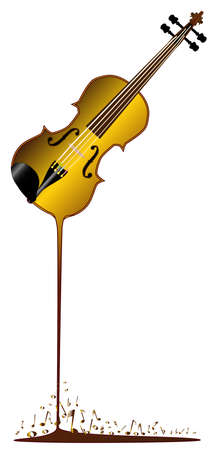 A violin having musical notes poured from it Stock Vector - 25882447