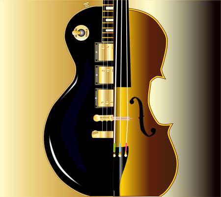 modern rock: A modern rock guitar and traditional violin  Illustration