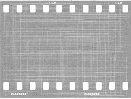 A section of film and sprocket holes with several scrathes and grain  Vector