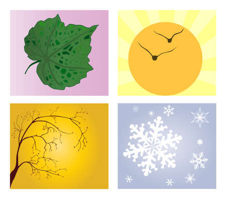 depictions: A depiction of each of the four seasons Illustration