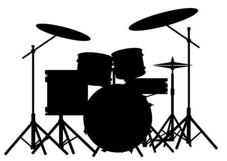 흰색에 고립 된 록 밴드 드럼 키트의 실루엣
