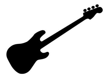 白色の背景上分離した汎用ベースギターのシルエット  イラスト・ベクター素材