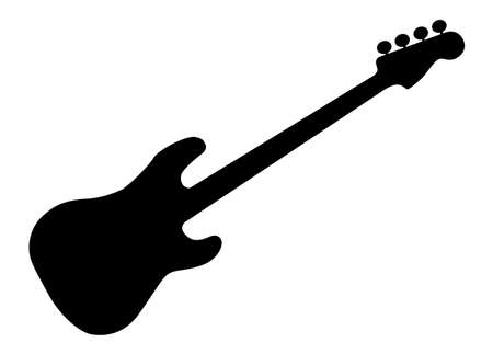 Silhouette of a generic bass guitar isolated over a white background