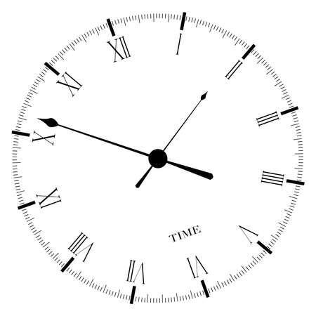 time keeping: An old English office type clock face isolated over a white background  Illustration