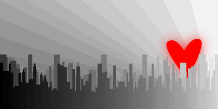 uplifting: A grey cityscape shown with a rising red heart