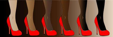 Legs in various skin tones, all wearing re stiletto heels