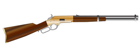 A typical wild west rifle isolated on a white background   Illustration