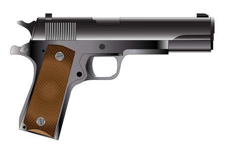 mano pistola: Un tipico pistola 45 mani automatico isolato su bianco Vettoriali