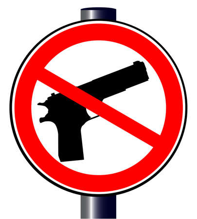 A hand gun set into a no guns allowed traffic sign Vector