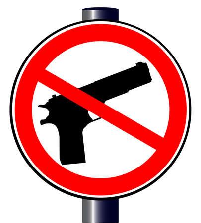 mano pistola: Una pistola a mano insieme in un pistole ammessi segno di traffico
