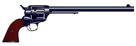 six shooter: The Wyatt Earp Buntline Special long barrel six gun  Illustration
