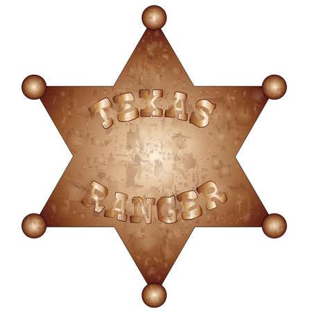 ranger: Un badge statunitense Texas Ranger Vettoriali