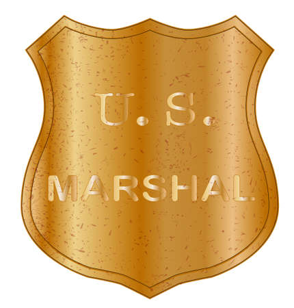 A United States Marshal shield badge isolated on white  Illustration