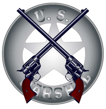 Two long barrel six guns on top of a US Marshal Badge Vector