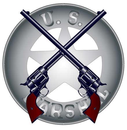 the marshal: Two long barrel six guns on top of a US Marshal Badge Illustration
