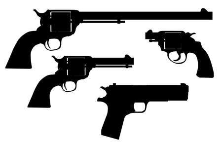 six gun: A selection of famous hand guns in silhouette over white